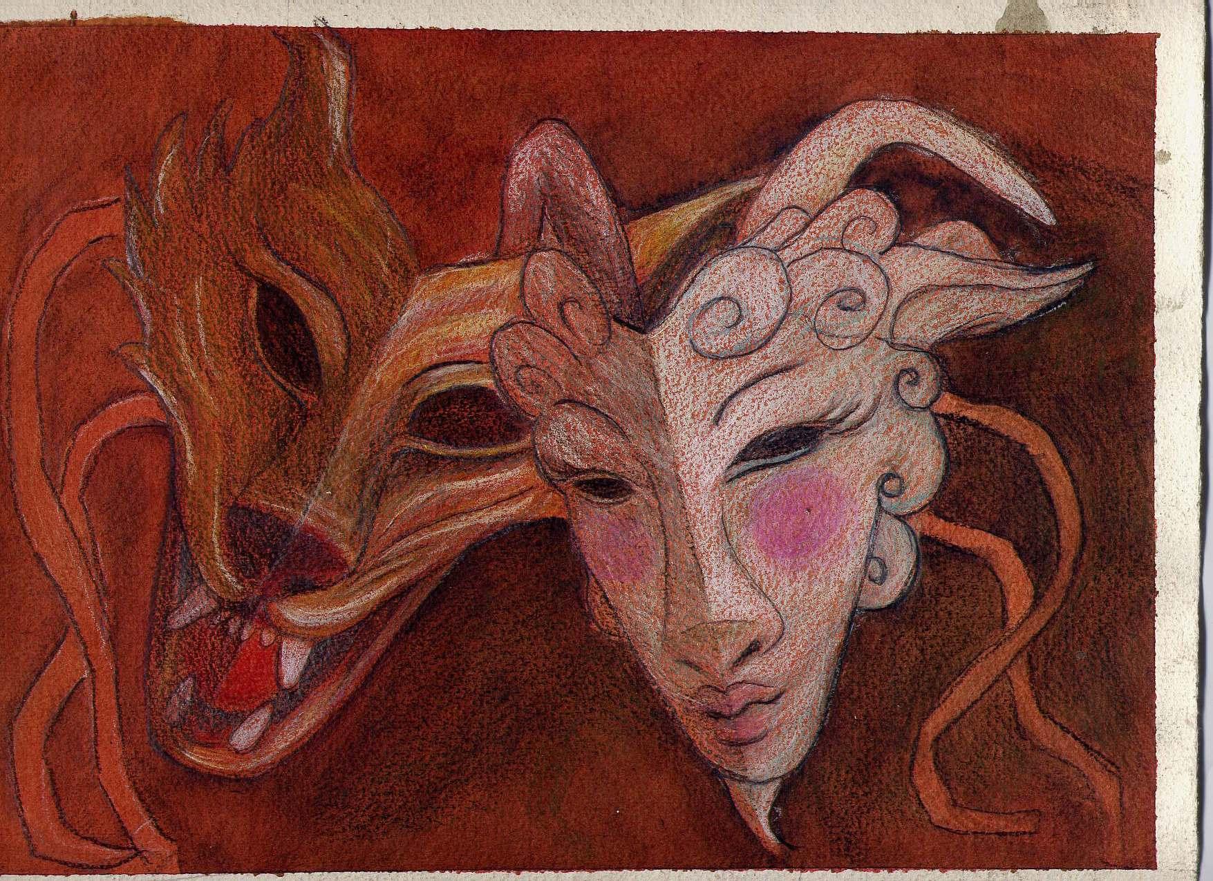 Bozzetto per le maschere di All'opera...Il lupo e i sette capretti